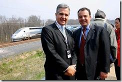 Juilo e Cabral na quebra do record de velocidade do trem Francês