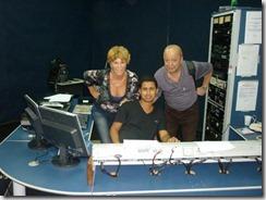 Mirene Alves e Paulo Nunes com o DJ de sonoplastia
