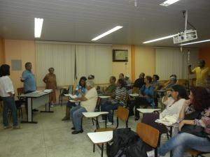 O Secretário Municipal de Cultura de Maricá Sérgio Mesquita durante sua fala na reunião do Fórum Permanente de Cultura de Maricá