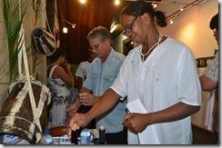 Secretário de Cultura, Sérgio Mesquita (esq), aprovou a feijoada.