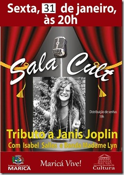 cartaz Tributo a Janis Joplin 31 de janeiro