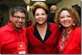 A presidente do Brasil, Dilma Rousseff, com o presidente Estadual do PT RJ e prefeito de Maricá, Washington Quaquá, e a primeira dama e, presidente Municipal do PT Maricá, Zeidan