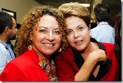 A presidente Municipal do PT Maricá, e primeira dama Rosangela Zeidan ao lado da presidente do Brasil Dilma Rousseff, durante o Encontro Nacional do PT