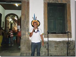 Cacique Darcy Tupã durante sua fala na abertura da Exposição em homenagem a Cultura Indígena, na Casa de Cultura de Maricá. foto Renata Gama