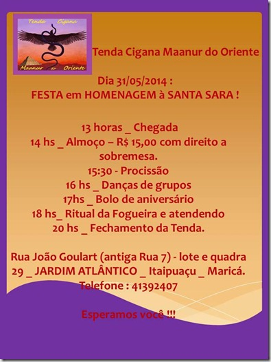 Convite para Festa de Santa Sara na Tenda da Cigana Maanur do Oriente