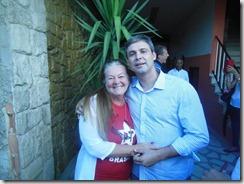 Jornalista Rosely Pellegrino com Lindberg, na Caravana da Cidadania em São Gonçalo
