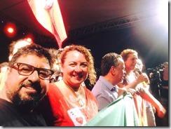 Quaquá e Zeidan no palco do ato do Largo do Machado contra o golpe 31.03.2016