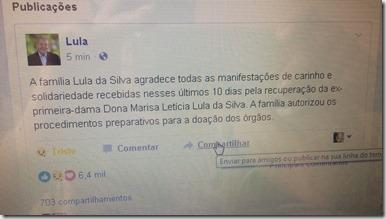 nota de falecimento de Dona Marisa Lula da Silva
